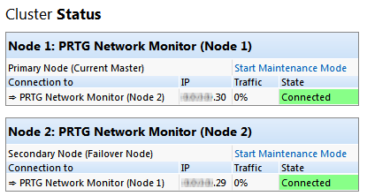 Cluster status with two successfully connected nodes