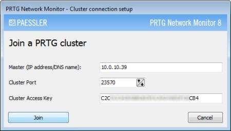 PRTG Server Administrator - Cluster Connection Setup
