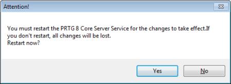 PRTG Server Administrator - Restart Services Confirmation