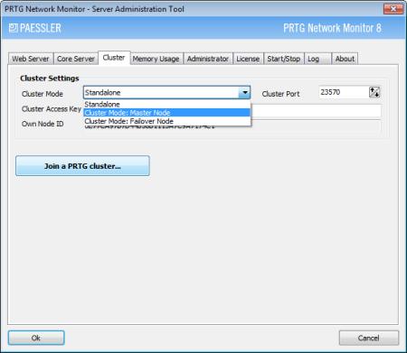PRTG Server Administrator - Cluster Settings Master Node