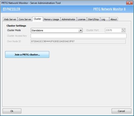 PRTG Server Administrator - Join Cluster Button