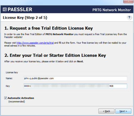Step 2 - Trial License or Starter Edition Key
