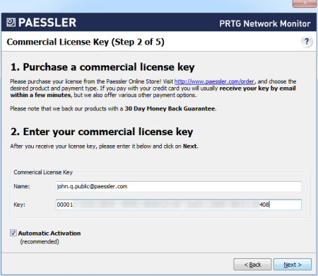 Step 2 - Commercial License Key