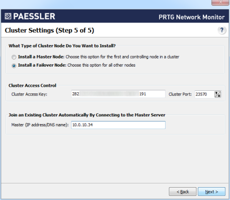 Cluster Settings Failover Node