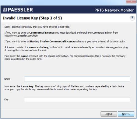 Step 2 - Invalid License Key