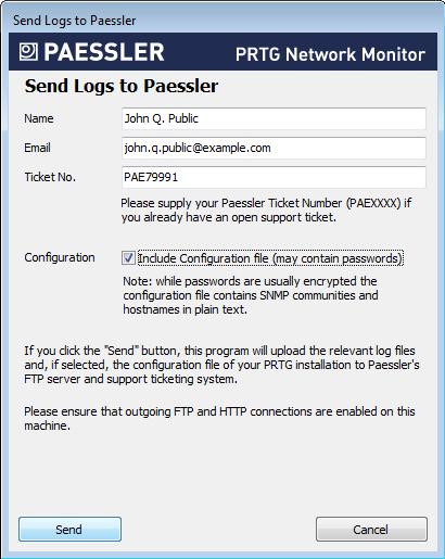 Send Logs to Paessler dialog in PRTG Server Administrator