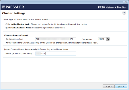 Cluster Settings - Failover Node