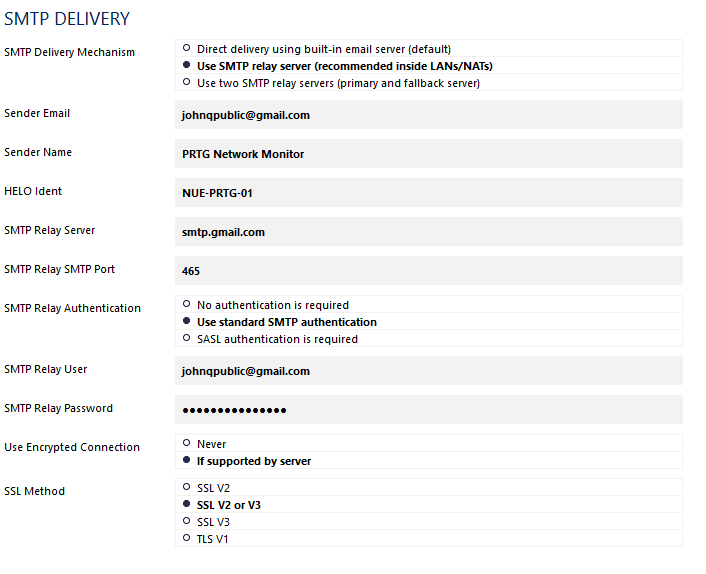 SMTP Delivery Settings