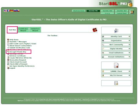 StartSSL Tool Box