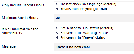 IMAP Sensor Message Date Check