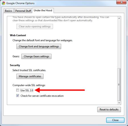 Google Chrome SSL Settings