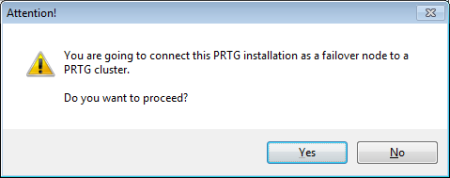 PRTG Server Administrator - Join Cluster Warning