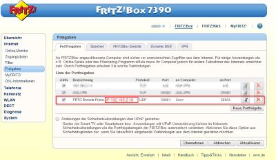 Fritzbox QOS PAT Rule