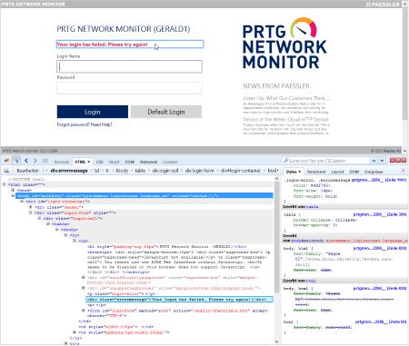 PRTG Login HTML Response