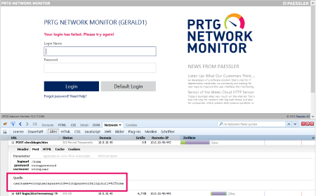 PRTG Login with Wrong Credentials