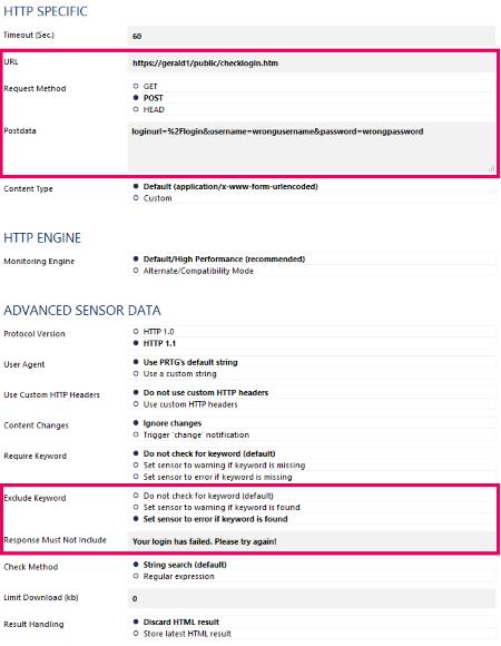 HTTP Advanced Settings