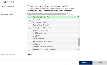 Execute the auto-discovery using your SNMP Custom Table template