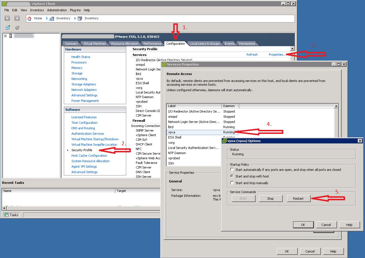 Restart vpxa-service on ESXi 5.1